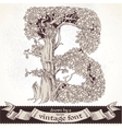 Fable forest hand drawn by a vintage font - B vector image