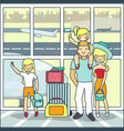 family travel air in flat vector image vector image