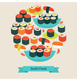 Flat Style Food Sushi Sashimi and Rolls Objects vector image vector image