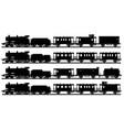 four black silhouettes vintage steam trains vector image