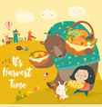 funny bear bunny and cute girl harvesting vector image vector image