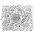 Hand drawn zentangle floral background for colorin vector image vector image