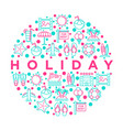 holiday concept in circle with thin line icons vector image vector image