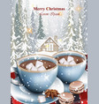 hot chocolate cups and marshmallows on snowy vector image vector image