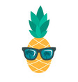 icon pineapple with sunglasses isolated on vector image