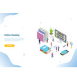 isometric 3d online reading concept with books or vector image vector image