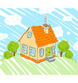 Kids drawing of new house on nature background vector image vector image