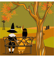 Kids in Thanksgiving costumes sitting under a tree vector image vector image