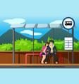 man and woman at bus stop vector image