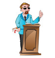 man speaking behind a podium vector image vector image
