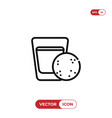 milk and cookie icon vector image vector image