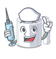 nurse character toilet paper rolled on wall vector image vector image