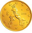 Obverse Italian money gold euro coin vector image vector image