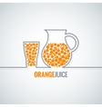 orange juice glass bottle line background vector image