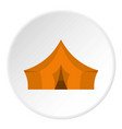 orange tent for forest camping icon circle vector image vector image