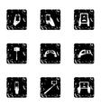 Photo on smartphone icons set grunge style vector image