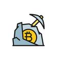 pickaxe with stone bitcoin blockchain vector image