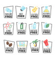 products and food labels isolated icons gmo or vector image