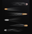 realistic flying bullet fired bullets in motion vector image vector image