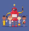 robot character child automatic device teaching vector image