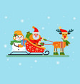 santa claus and snowman sitting in sleigh vector image