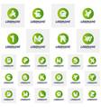 set font with leaf logo design concepts nature vector image vector image