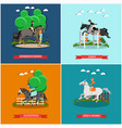 set horse concept posters in flat style vector image vector image