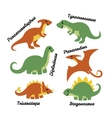 Set of cute cartoon dinosaurs isolated on white vector image