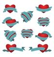 Set of Heart and Ribbon vector image vector image