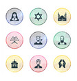 set of simple religion icons elements muslim devil vector image vector image