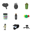 Shooting paintball icons set cartoon style vector image