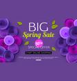 spring sale banner design with ultra violet paper vector image vector image