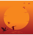 Sunset with flying bird vector | Price: 1 Credit (USD $1)