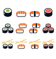 Sushi - Japanese food icons set vector image vector image