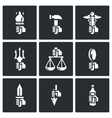 Symbols of the gods in Greek mythology icons set vector image vector image