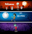 three halloween banners vector image vector image