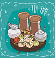 traditional asian sweets and masala chai tea vector image vector image