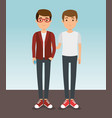 two handsome man milennials generation young vector image