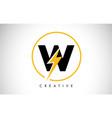 w letter logo design with lighting thunder bolt vector image