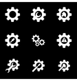 White tools in gear icon set