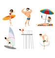 six beach characters vector image
