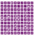 100 database and cloud icons set grunge purple vector image vector image