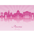 Ancona skyline in purple radiant orchid vector image vector image