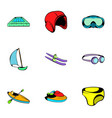 aqua icons set cartoon style vector image vector image
