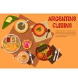 Argentine asado dishes with desserts flat icon vector image
