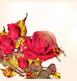 background with roses and lady birds vector image