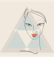 beautiful stylish young woman face on light vector image