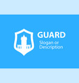 blazon emblem with shield and stronghold castle vector image vector image