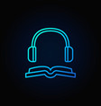 book with headphones blue icon vector image vector image