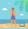 business vacations of man vector image vector image